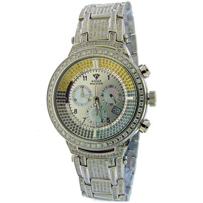 Fully Paved Mens Fancy Color Aqua Master Watch 6.70ct Fully Paved Mens Fancy Color Aqua Master Watch 6.70ct
