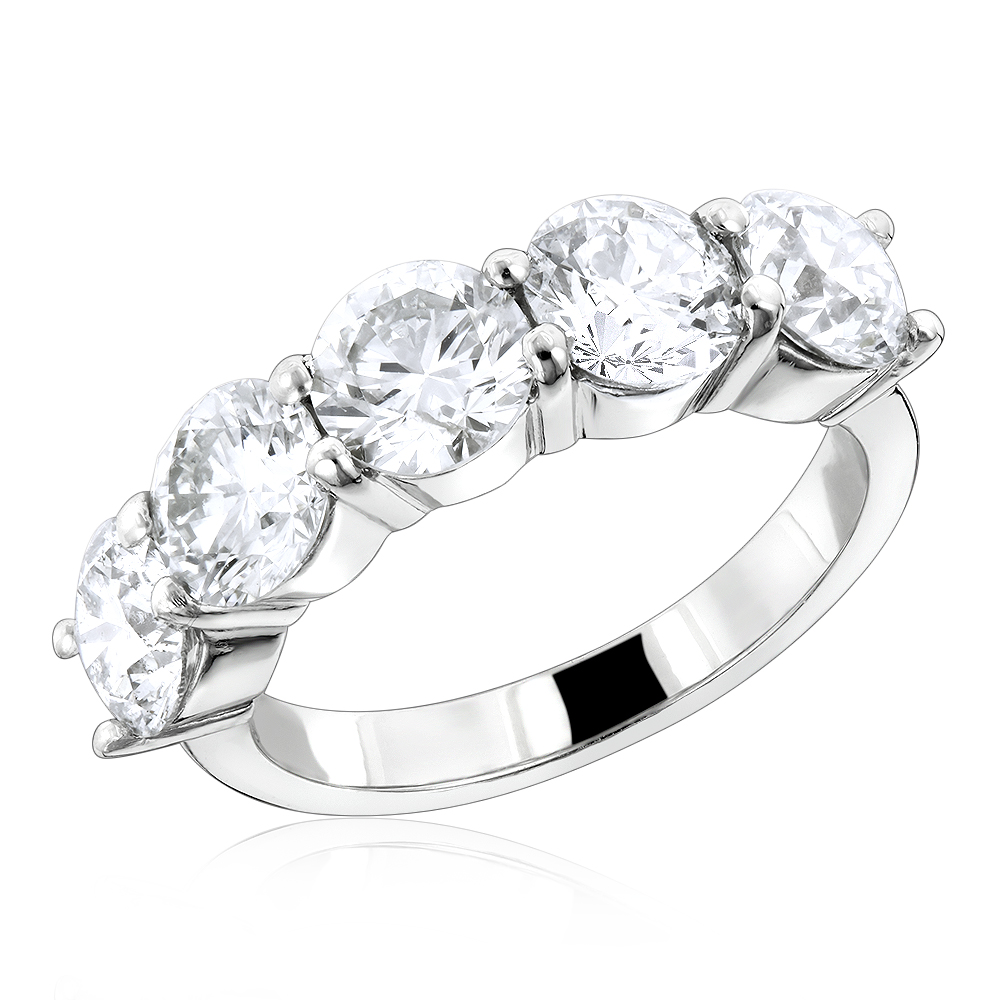G VS Large Diamond Wedding Bands: 5 Stone Anniversary Platinum Ring 3.75ct