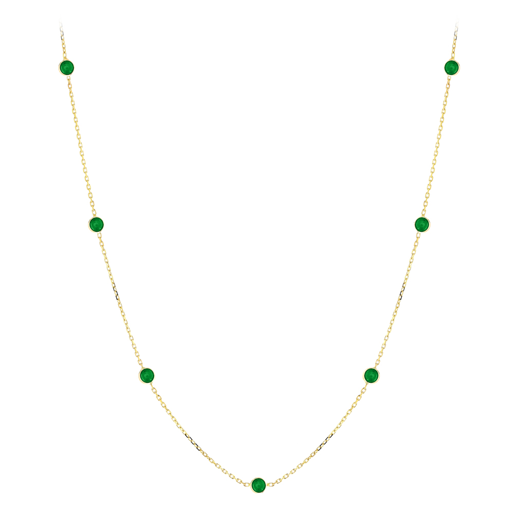 Gemstone By The Yard Chain: 14K Gold Womens Emerald Necklace 1.33ct Yellow Image