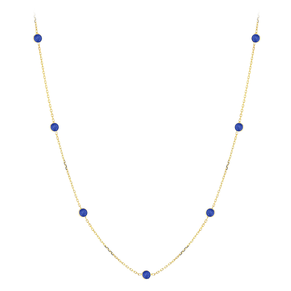 Gemstone By The Yard Necklace 14K Gold Womens Blue Sapphire Necklace 1.75ct Yellow Image