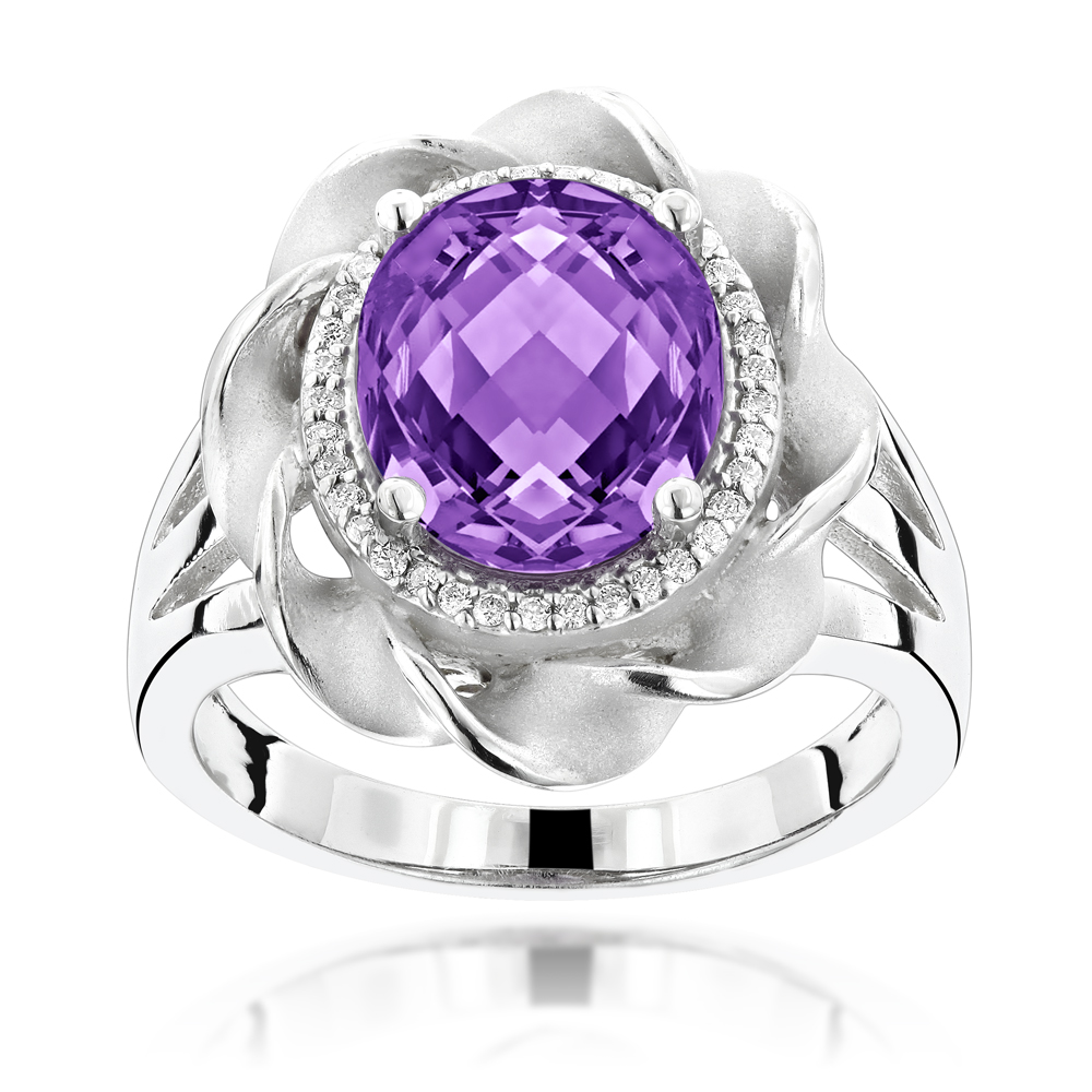 Gemstone Jewelry: Amethyst Diamond Flower Ring 0.13ct 14K Gold White Image