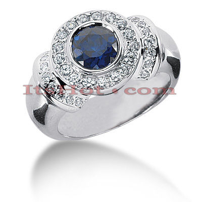 Gemstone Jewelry: Diamond and Sapphire Engagement Ring 14K 0.52ctd 1cts Main Image