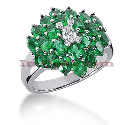 Gemstone Jewelry: Ladies Diamond and Emerald Ring 14K 0.24ctd 4.40cte Main Image