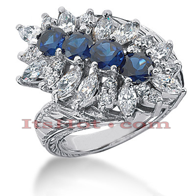 Gemstone Jewelry: Ladies Diamond and Sapphire Ring 14K 1.90ctd 1.60cts Main Image