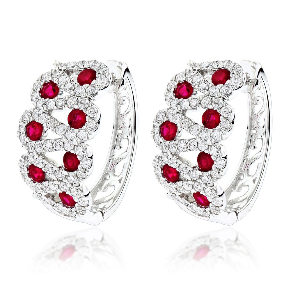 Gemstone Jewelry Luxurman Unique Ladies Diamond Red Ruby Earrings 14k Gold White Image
