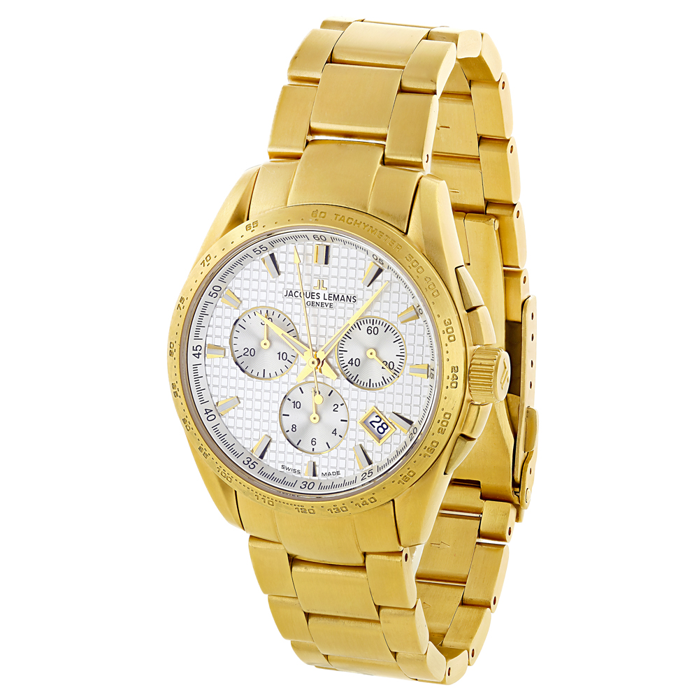 Genuine Jacques Lemans Mens Watch - Yellow Gold Plated Main Image