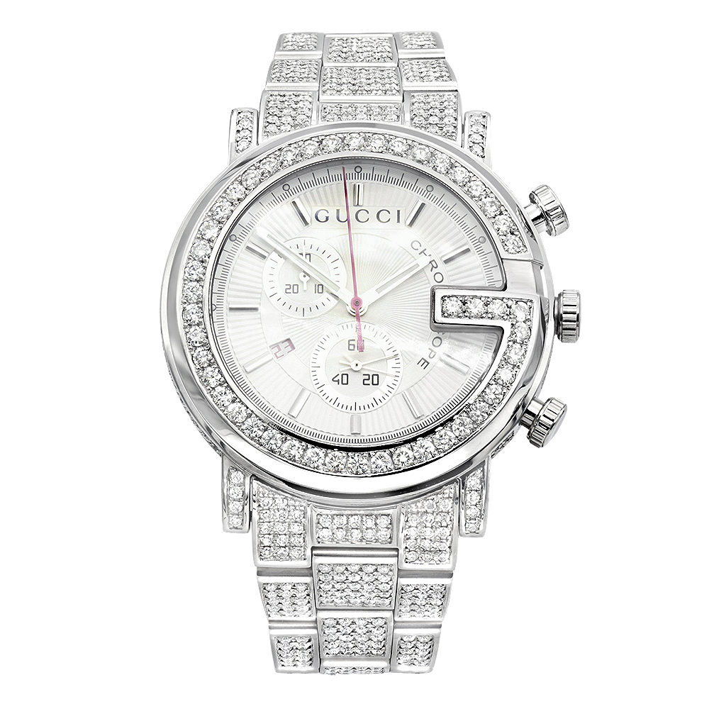 Genuine Mens Gucci Chrono Diamond Watch  12ct Main Image