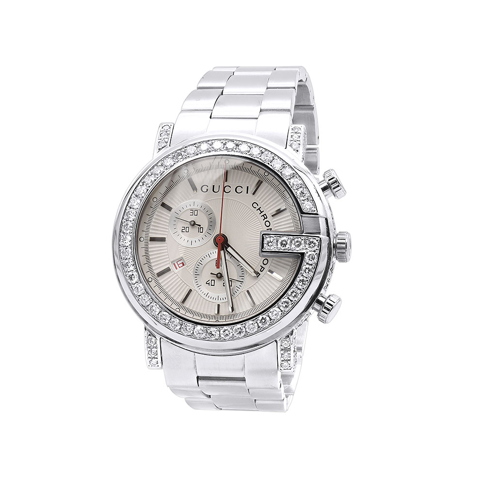 Genuine Mens Gucci Diamond Watch 4.25ct Main Image