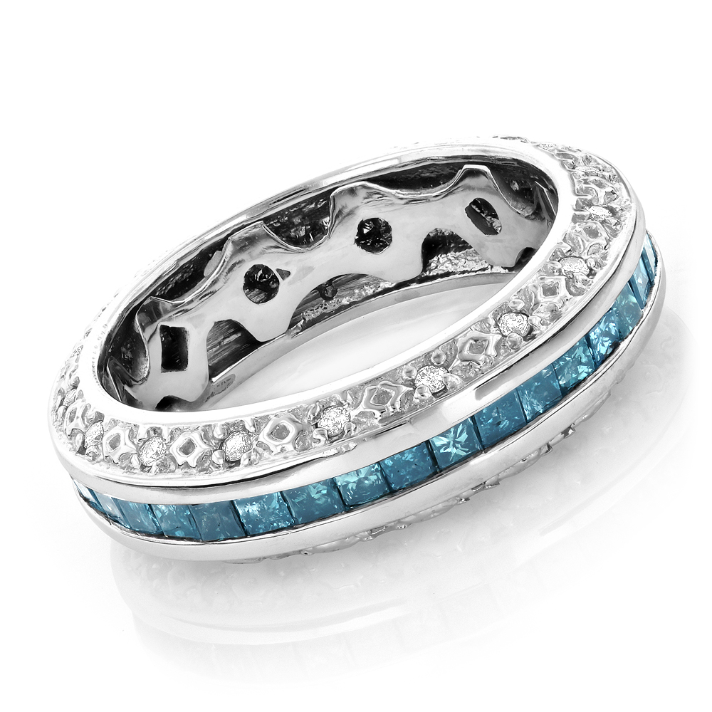 Gold Blue Diamond Wedding Band Eternity Ring 2.64ct White Image
