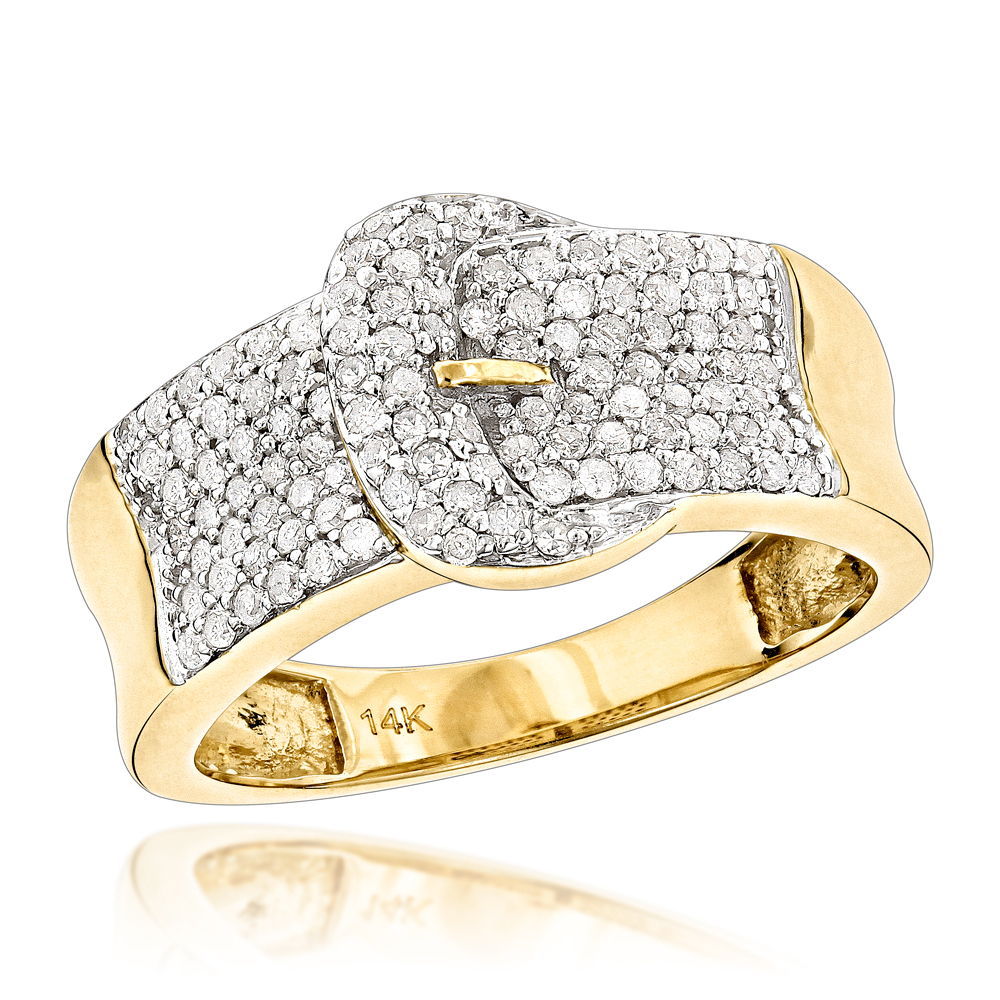 Gold Buckle Ring with Diamonds 14K 0.8ct Womens Jewelry Yellow Image