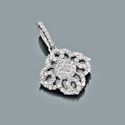 Gold Diamond Flower Pendant 0.29ct 14K Gold