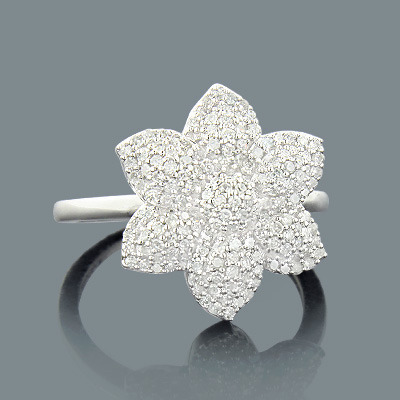 Gold Diamond Flower Ring 0.44ct 14K