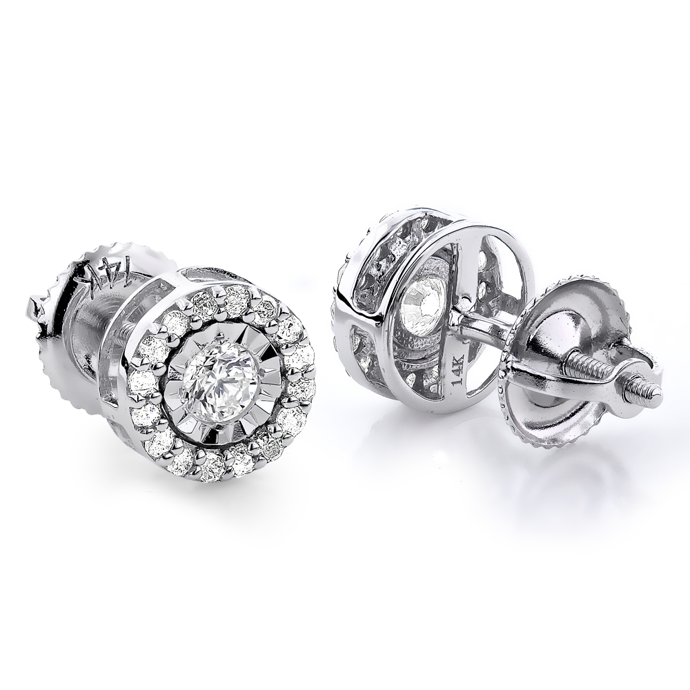 Gold Diamond Stud Earrings 2ct Diamond Earrings Look White Image