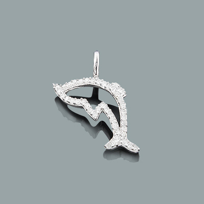 Gold Dolphin Pendant with Diamonds 0.17ct 10K Charm Main Image