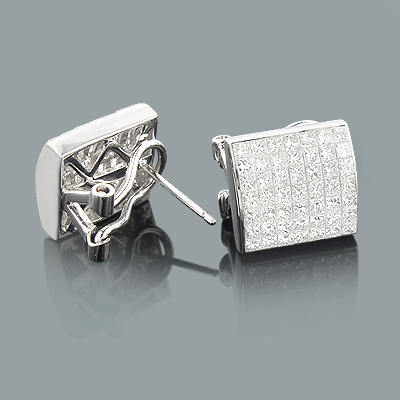 Gold Earrings with Princess Cut Diamonds 2.75ct 14K
