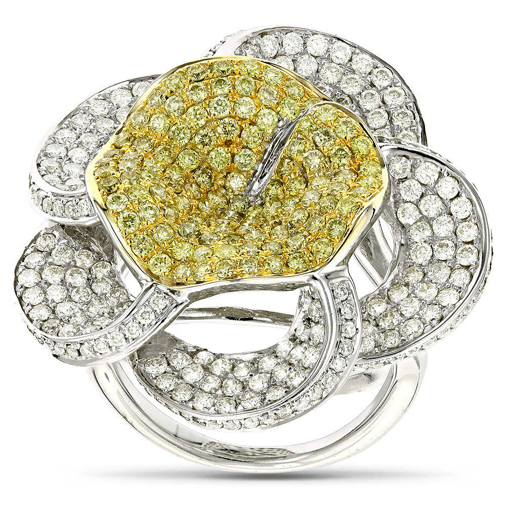 Gold Natural Yellow Diamond Flower Ring 14K Gold 3.58ct White Image