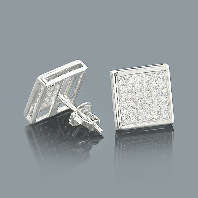 Gold Pave Diamond Stud Earrings 0.41ct 10K Main Image