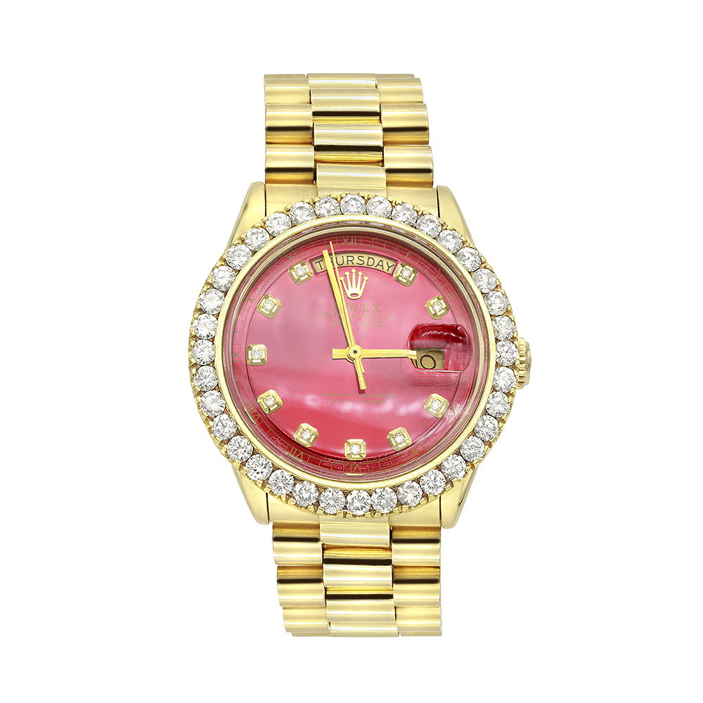 Gold Rolex Watch for Men with Diamond Bezel 4.5ct Datejust Oyster Perpetual Main Image