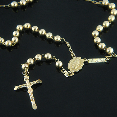 Gold Rosary Beads Solid 14K Gold Rosary Bead Necklace
