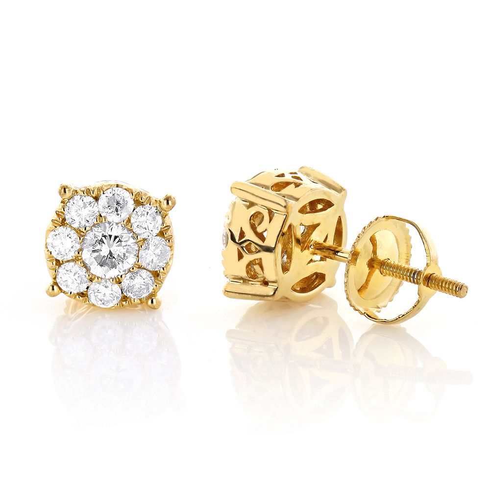 Gold Round Diamond Cluster Earrings 1.3ct 14K Gold White Image
