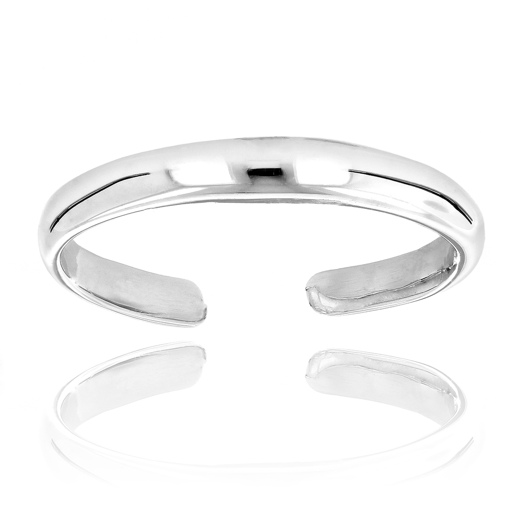 Thin Gold Toe Rings Adjustable 14K Solid Gold Toe Ring Band White Image