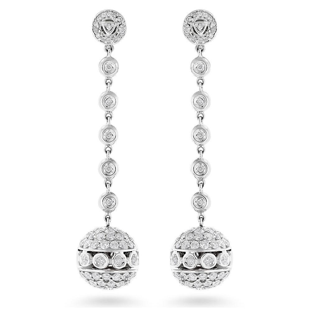 Golden Globes Diamond Dangle Earrings 3ct 14K Gold White Image