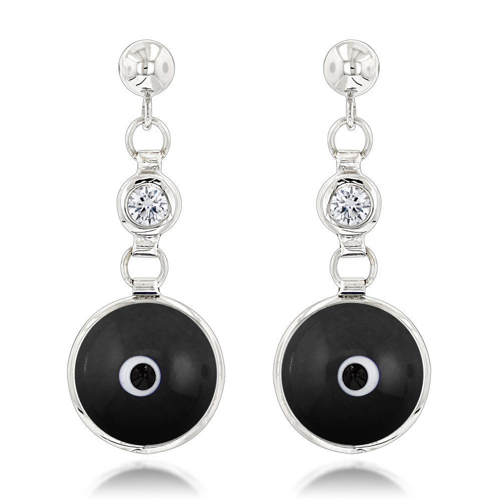 Good Luck Charms 14K Diamond Evil Eye Earrings 0.20ct White Image