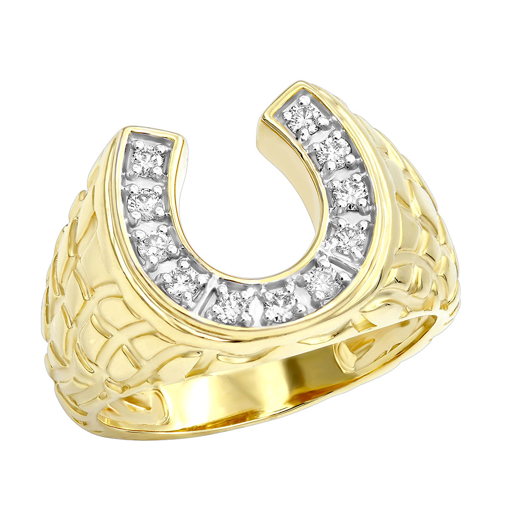 Good Luck Men's 14k Gold Nugget Horseshoe Diamond Ring 0.5ct by Luxurman Yellow Image