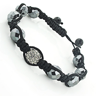 Grey Disco Ball Bracelet with Rhinestones Beaded Main Image