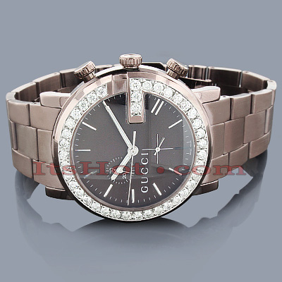 Gucci Watches Chrono Mens Diamond Watch 3.10ct Brown Main Image