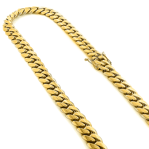 Half Kilo Yellow Gold Miami Cuban Link Colossal Chain for Men 14mm 22-40in Yellow Image