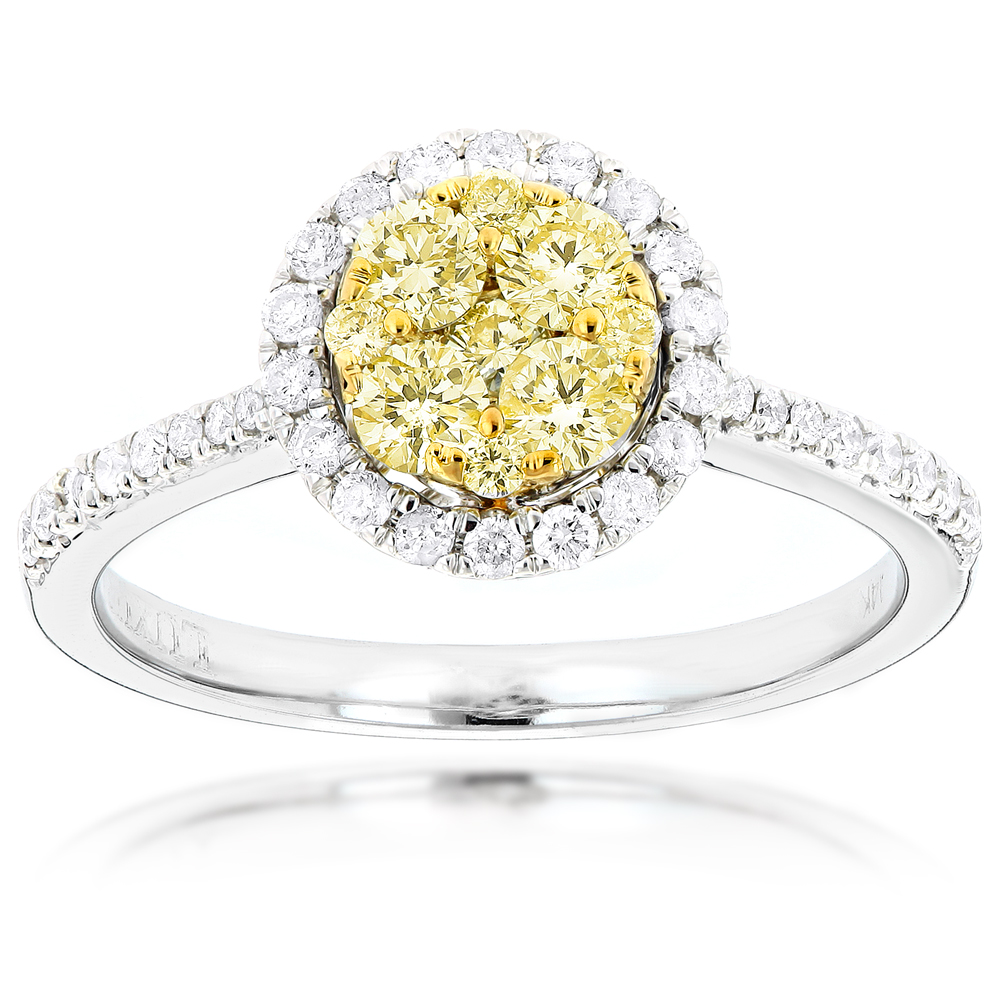 Halo 14K Gold White Yellow Diamond Ladies Cluster Engagement Ring 0.8ct