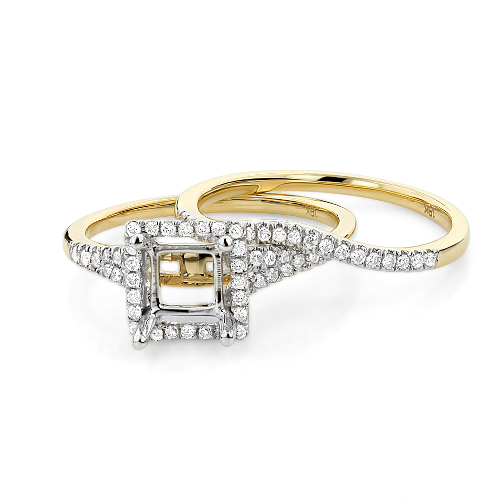 Halo 18K Gold Princess Cut Diamond Engagement Ring Mounting Set 0.48ct halo-18k-gold-princess-cut-diamond-engagement-ring-mounting-set-048ct_1