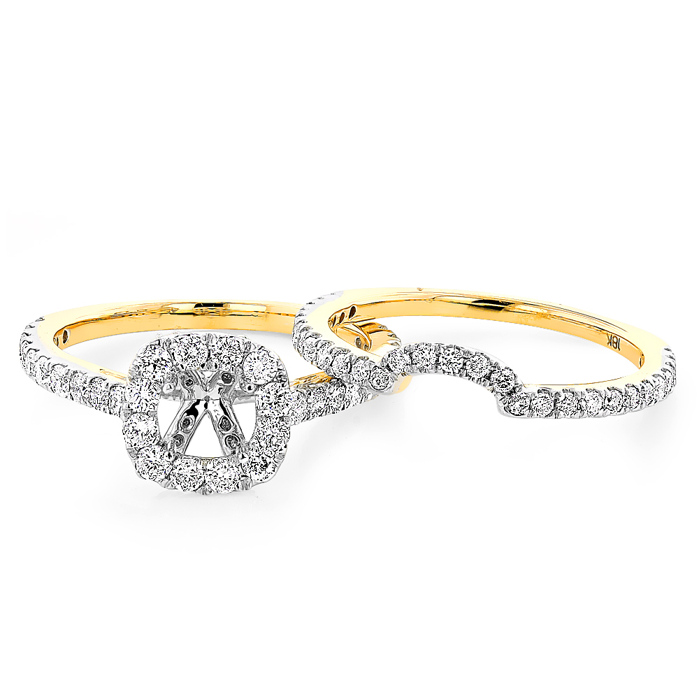 Halo Cushion Diamond Engagement Ring Mounting and Band Set 18K Gold 1.59ct halo-cushion-diamond-engagement-ring-mounting-and-band-set-18k-gold-159ct_1