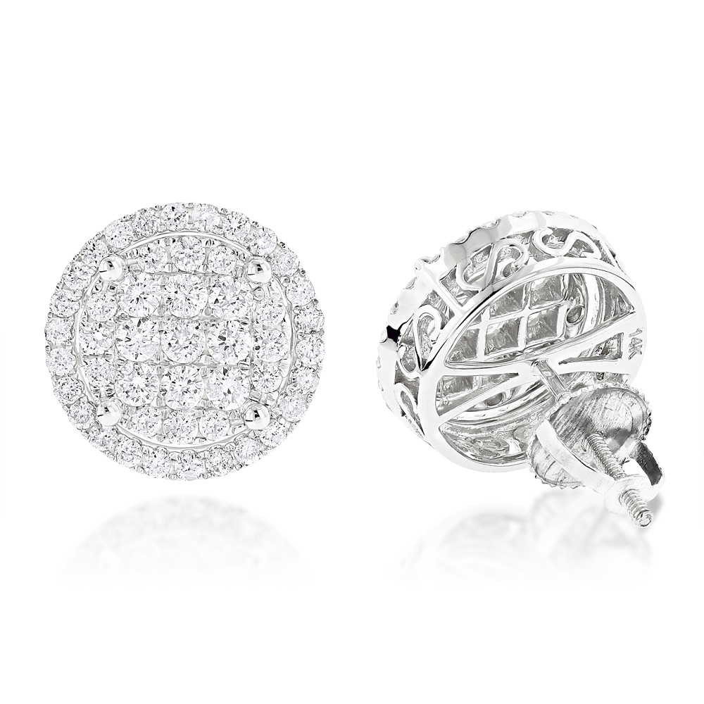 Halo Diamond Cluster Earrings Studs 1.61ct 14K Gold White Image