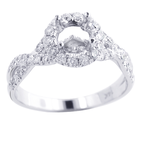 Halo Diamond Engagement Ring Setting 0.78ct 14K Gold