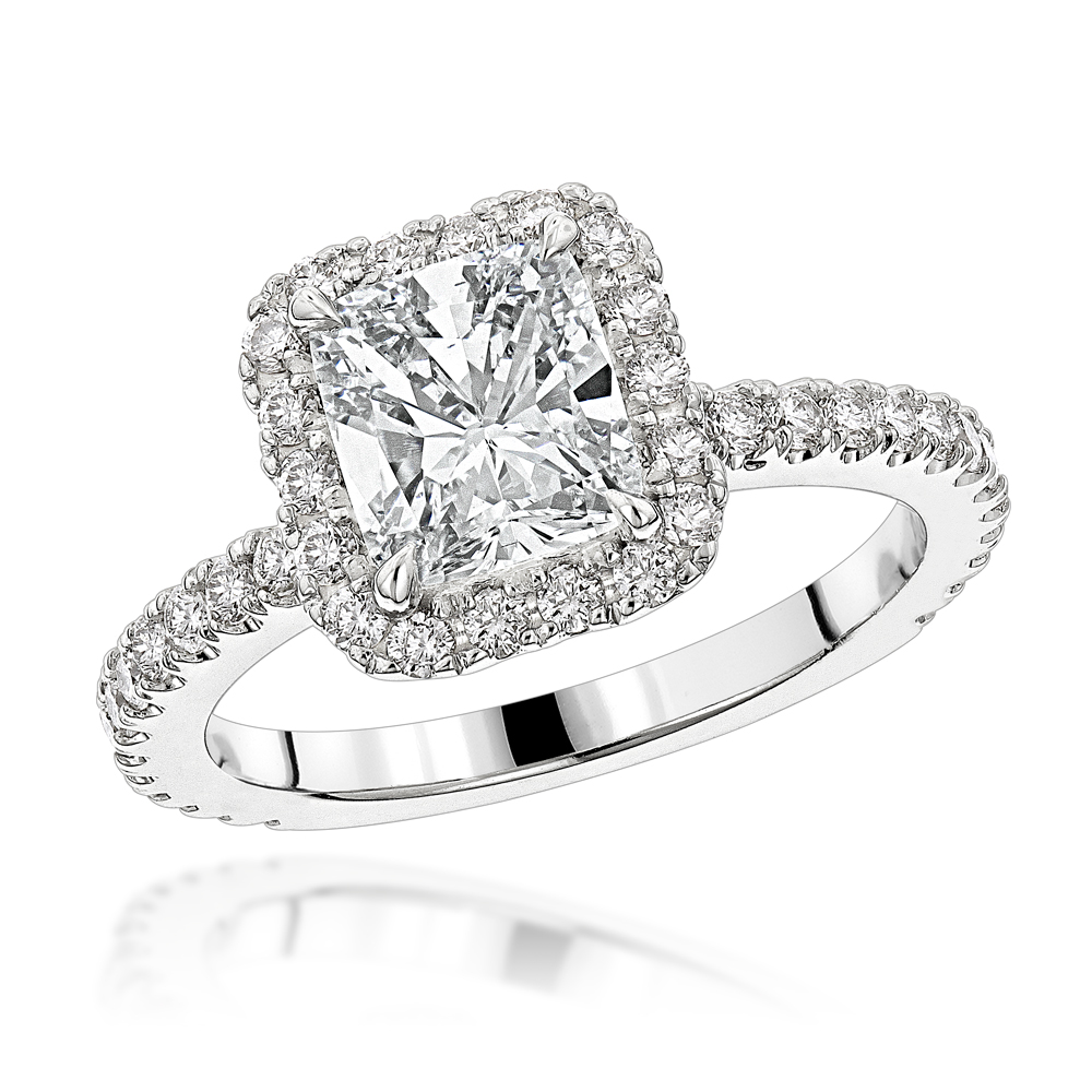 Halo GIA Cushion Cut Diamond Engagement Ring 2.4ct in 14K Gold by Luxurman White Image