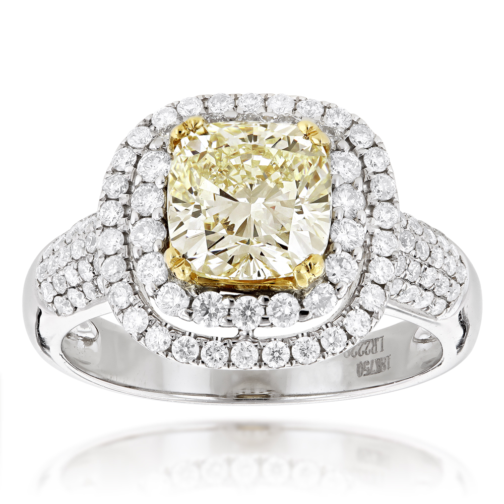 Halo Natural Yellow Cushion Cut Diamond Engagement Ring 4ct 18K White Gold White Image