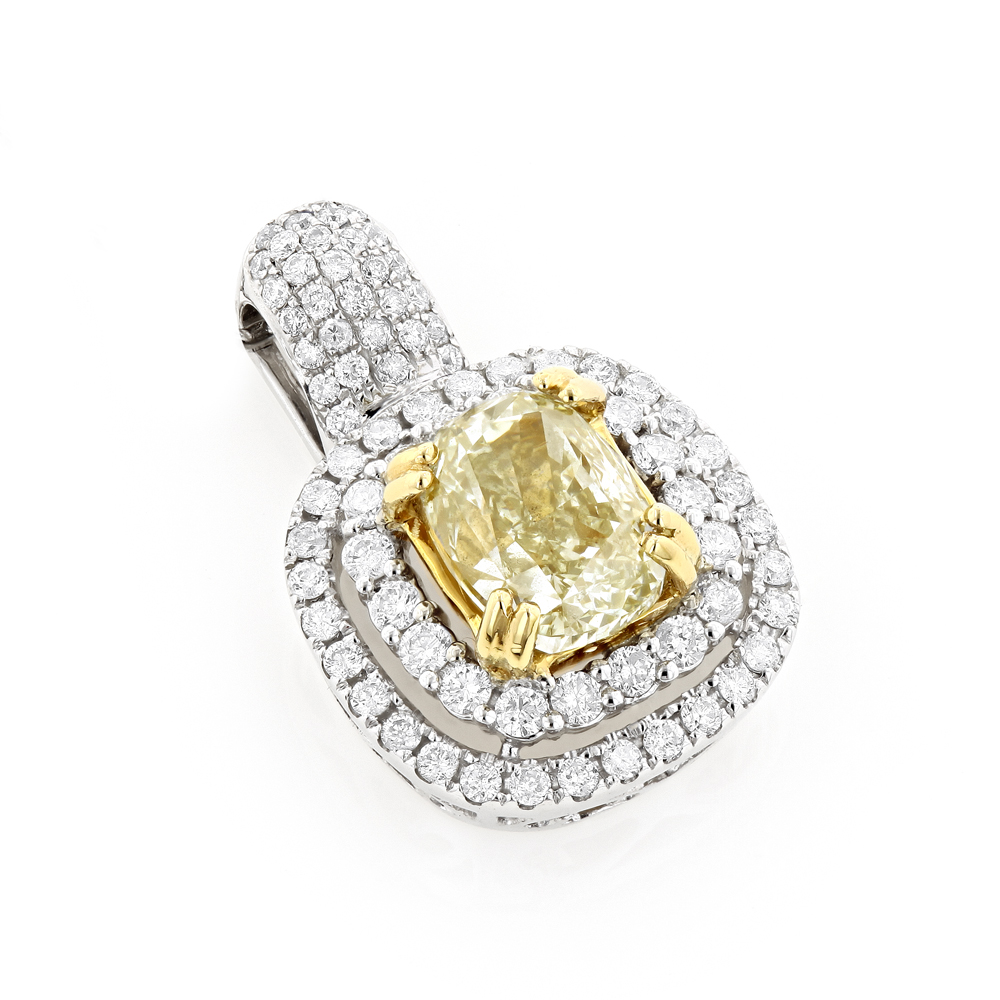 Halo Natural Yellow Cushion Cut Diamond Pendant for Women 3ct 18K White Gold