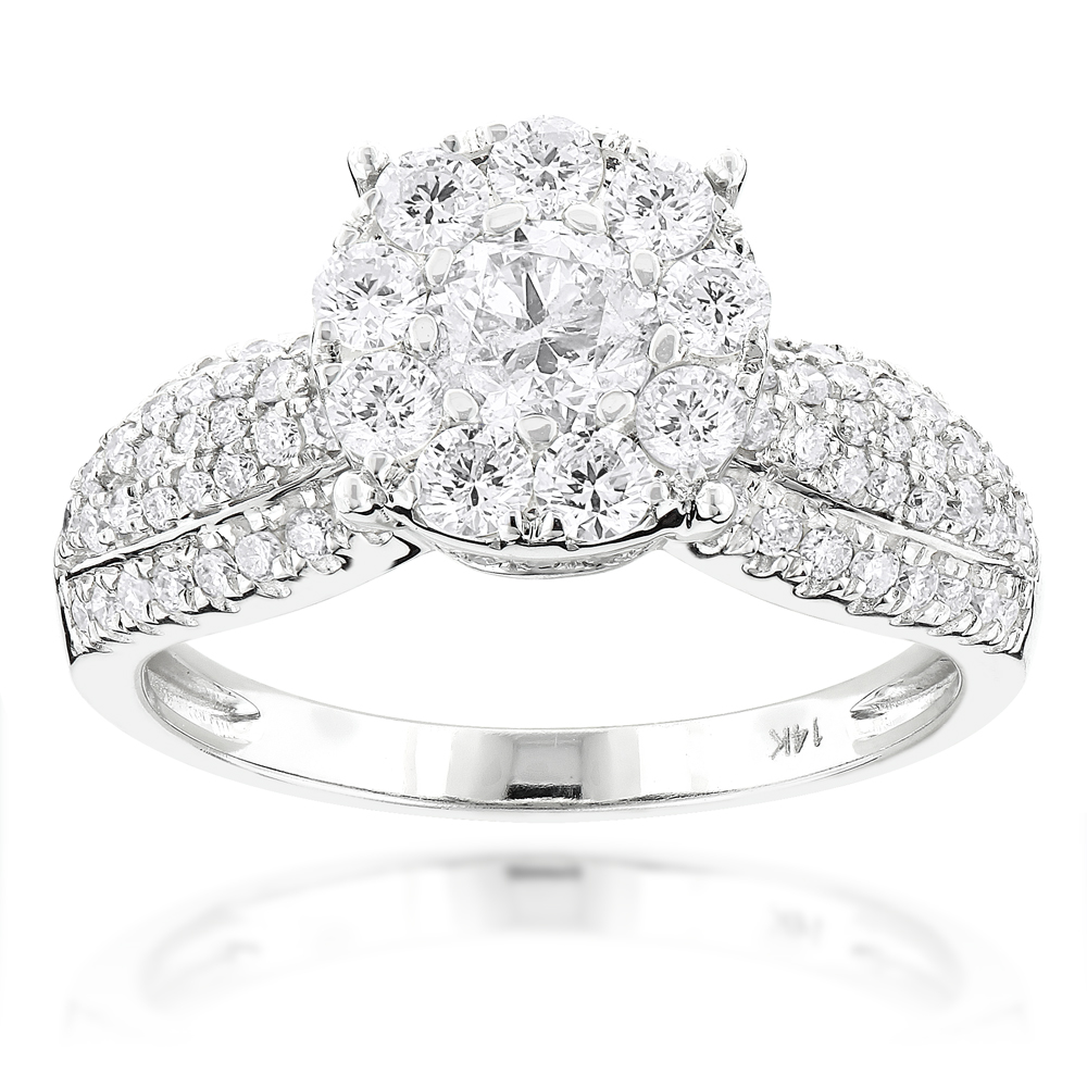 Halo Style Engagement Ring with Round Diamonds 1.71ct 14K Gold