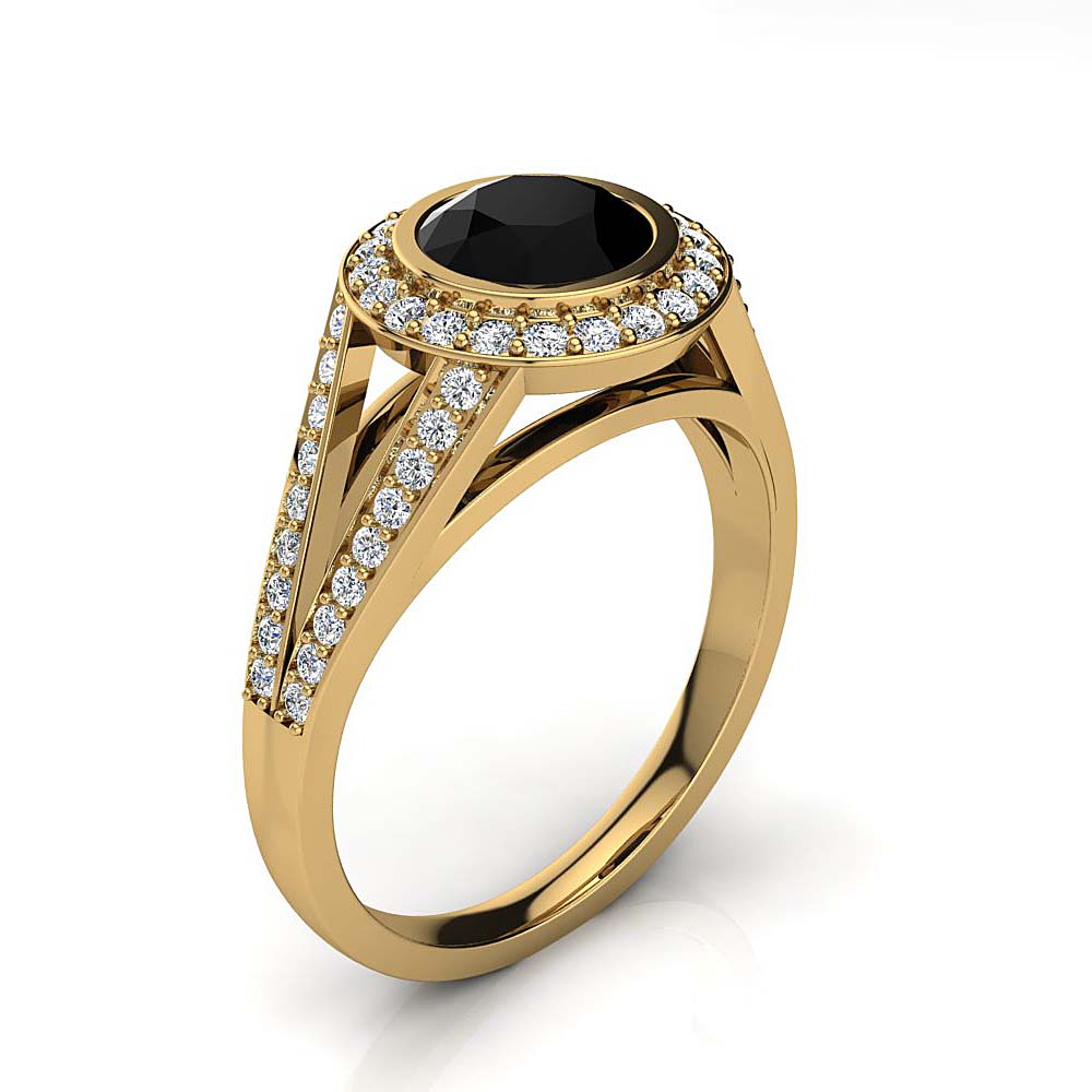 Halo White & Black Diamond Engagement Ring 1.35ct 14K Gold by Luxurman Yellow Image