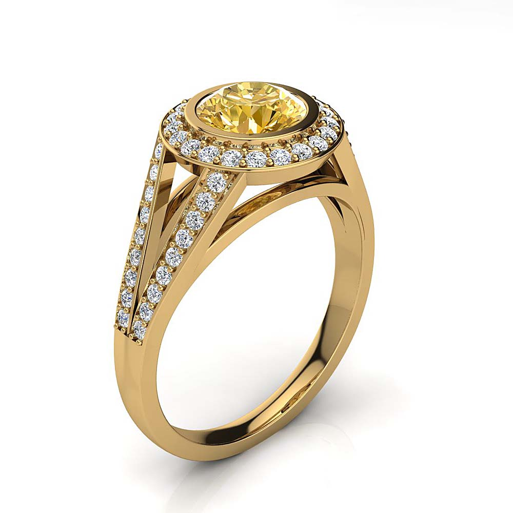 Halo White & Yellow Diamond Engagement Ring by Luxurman 1.35ct 18K Gold Yellow Image
