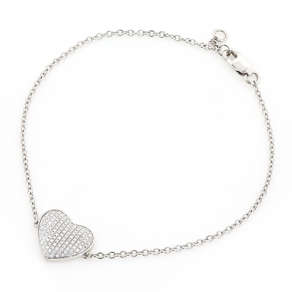 Heart Bracelets 10K Gold Diamond Heart Bracelet 1/5ct White Image