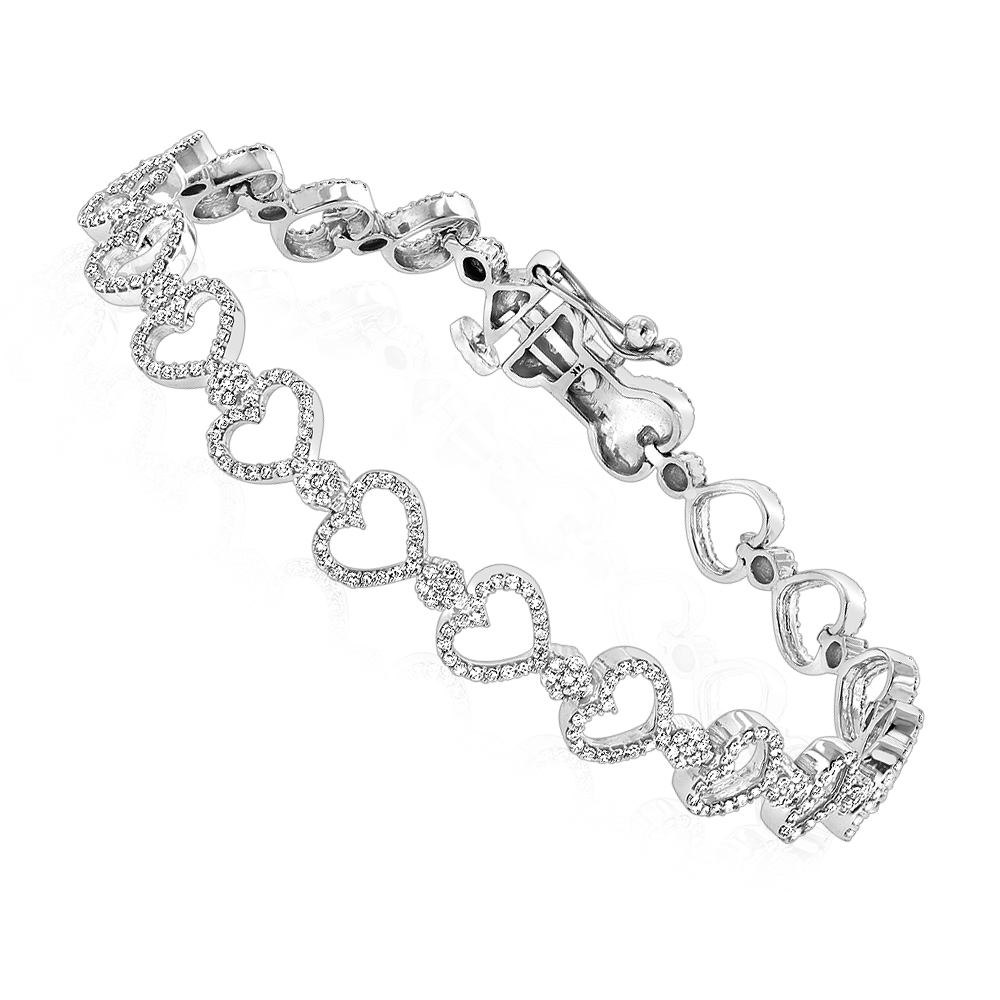 Heart Bracelets 14K Gold Diamond Heart Bracelet 1.65ct