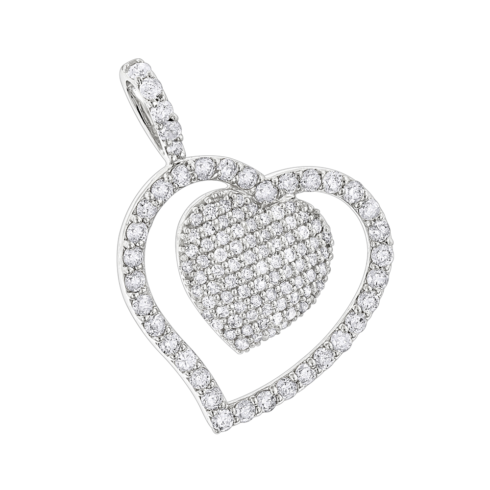 Heart Jewelry 14K Designer Diamond Heart Pendant 0.9ct White Image