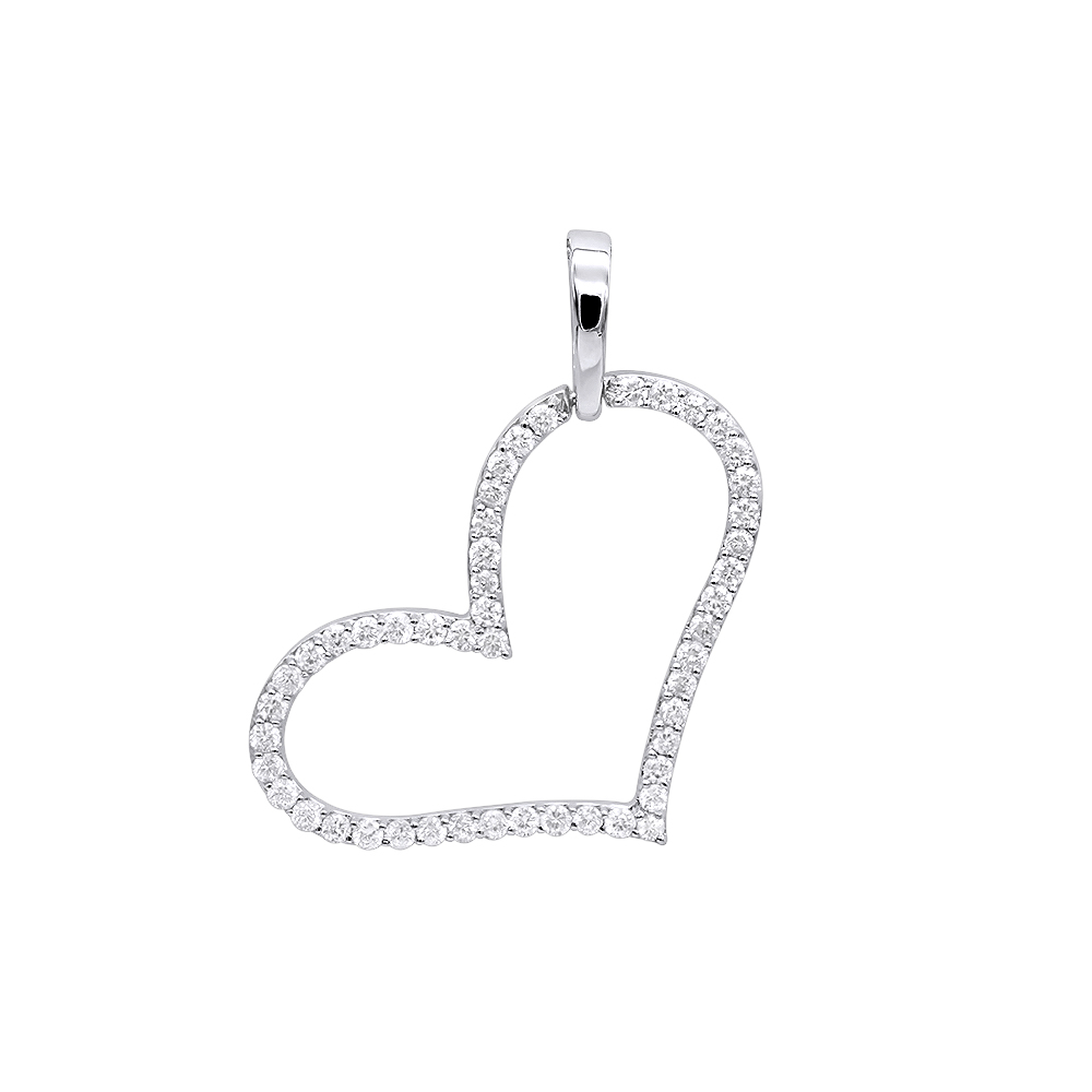 Heart Jewelry 14K Gold Open Heart Diamond Pendant Necklace 1ct by Luxurman White Image