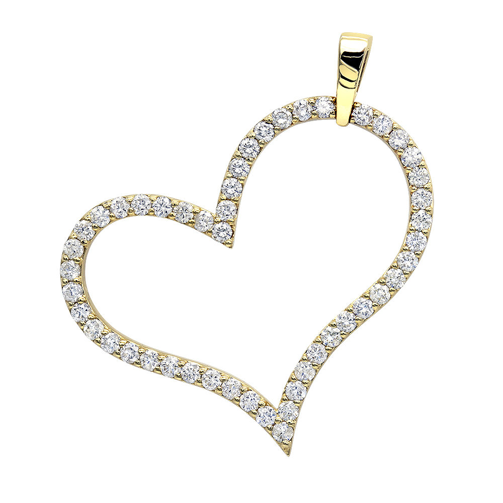 Heart jewelry 14k gold round diamond heart pendant 15ct by luxurman aloadofball Images