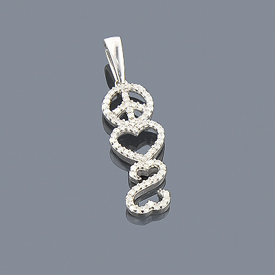 Heart Peace Sign Diamond Pendant 0.29ct Sterling Silver Main Image