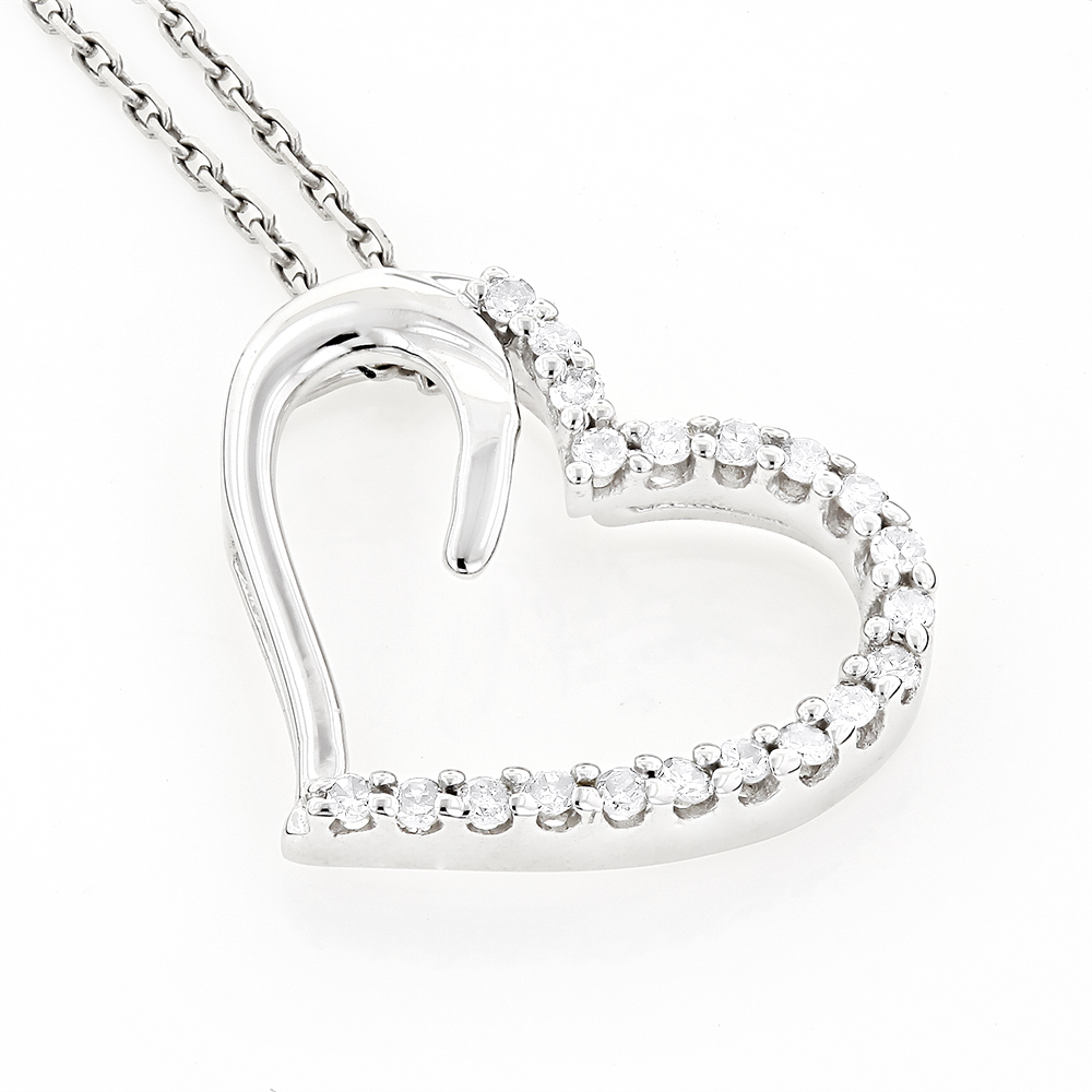 Heart Pendants 10K Gold Diamond Floating Heart Pendant 0.2ct White Image