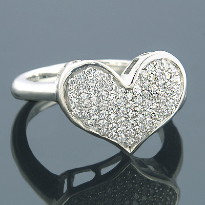 Heart Rings 14K Gold Designer Diamond Heart Ring 0.43ct Main Image